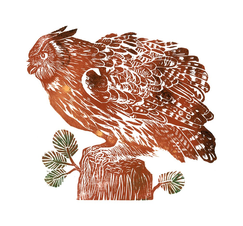 Birds. Linocut